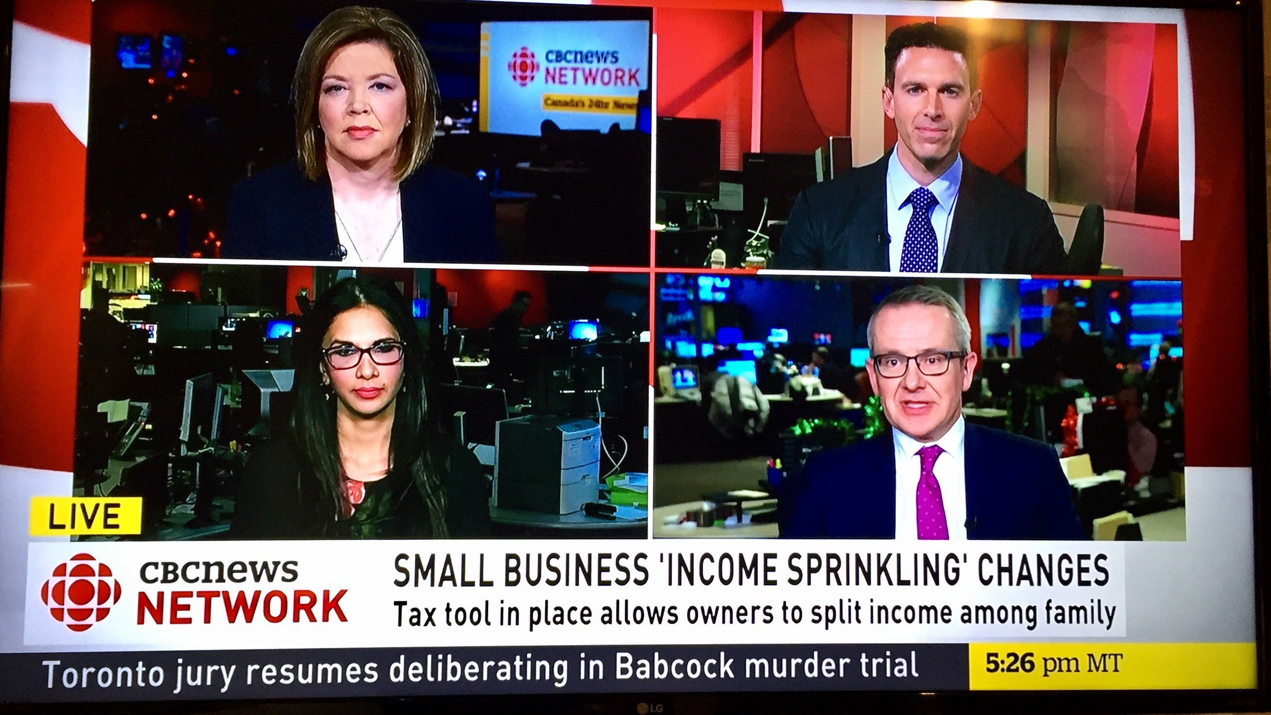 Muneeza on CBC with Carole MacNeil discussing income sprinkling and the Federal Governments changes as they affect small businesses.