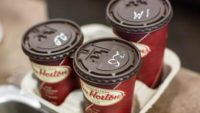 A Tray Of Tim Hortons Coffees