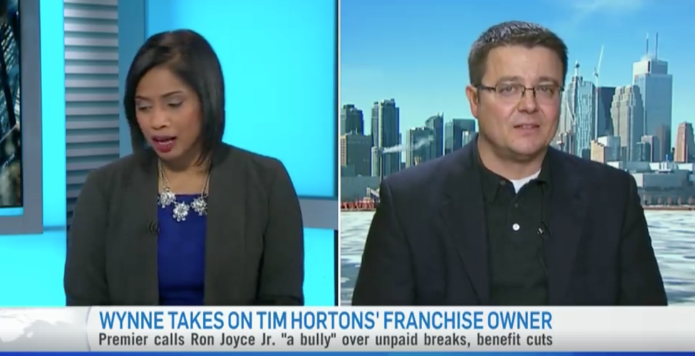 Jason Beeho: Wynne Takes on TIm Hortons' Franchise Owner